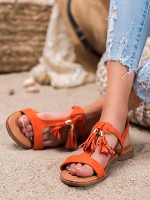 Stylové  sandály dámské oranžové bez podpatku