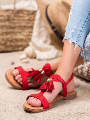 Moderní  sandály červené dámské bez podpatku