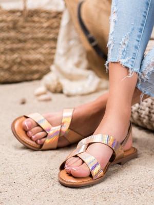 Trendy  sandály zlaté dámské bez podpatku