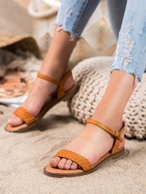 Luxusní  sandály hnědé dámské bez podpatku