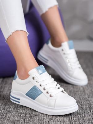 Komfortní  tenisky dámské bílé bez podpatku