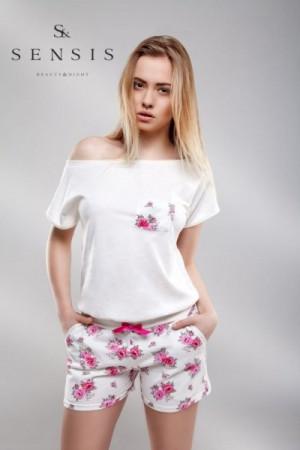 Sensis overal Rose Dámské pyžamo L/XL ecru