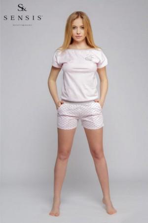 Sensis overal Groszki Dámské pyžamo L/XL růžová