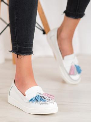 Komfortní  mokasíny dámské bílé bez podpatku