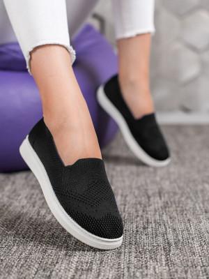 Luxusní  tenisky dámské černé bez podpatku