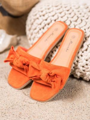 Klasické  nazouváky oranžové dámské bez podpatku