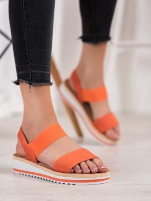 Pěkné dámské oranžové  sandály bez podpatku