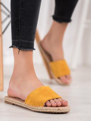 Stylové dámské zlaté  nazouváky bez podpatku