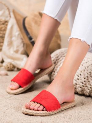 Trendy  nazouváky dámské červené bez podpatku
