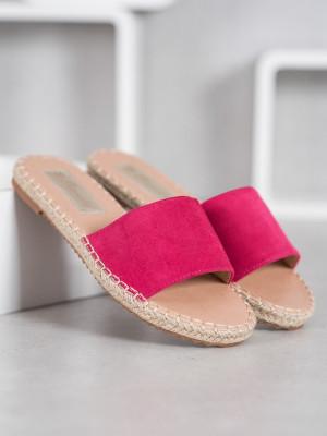 Výborné dámské růžové  nazouváky bez podpatku