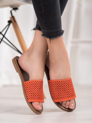 Praktické  nazouváky dámské oranžové bez podpatku
