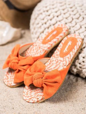 Výborné dámské  nazouváky oranžové bez podpatku