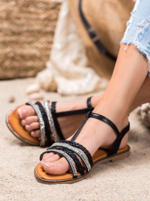 Praktické dámské černé  sandály bez podpatku