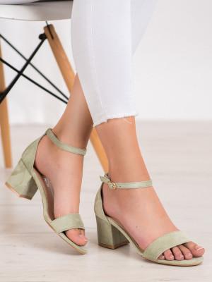 Zajímavé  sandály dámské zelené na širokém podpatku