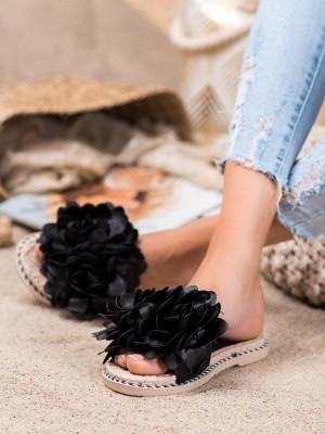 Luxusní  nazouváky dámské černé bez podpatku