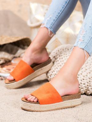 Jedinečné oranžové  nazouváky dámské bez podpatku
