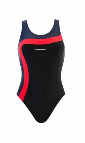 Dámské jednodílné plavky 728 - Sesto Senso černá-červená-tm.modrá