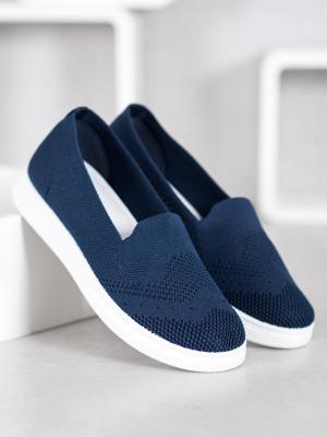 Designové dámské modré  tenisky bez podpatku