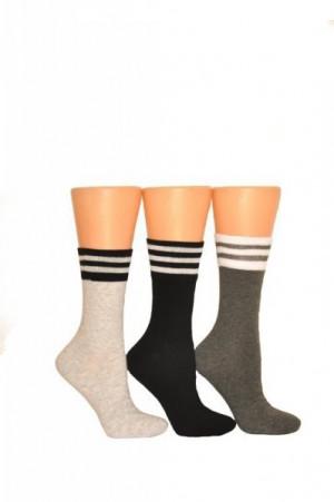 Milena 1016 ponožky  s proužky 37-41 bílá