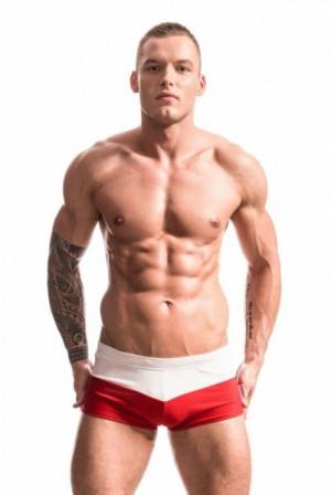 Alpha Male Treso Polo Pánské plavky XL bílo-červená