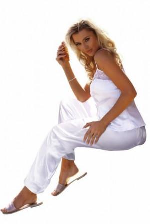 DKaren Caroline bílé Dámské pyžamo L bílá