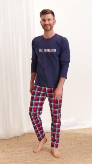 Taro Leo 2264 Pánské pyžamo L tmavě modrá-kostka