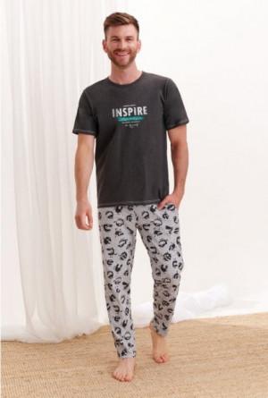 Taro Jeremi 2199 Z'20 Pánské pyžamo XL grafitový melanž