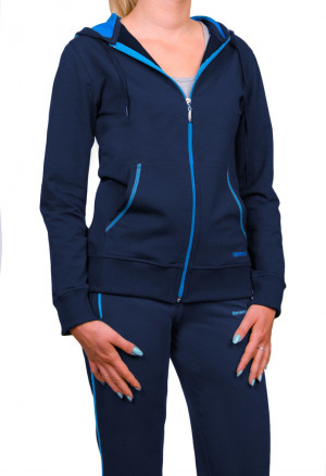 Dámská mikina s kapucí 0604 tmavě modrá/malinová 5XL