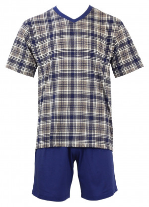 Pánské pyžamo Karon V KR - Favab tmavě modrá kostka