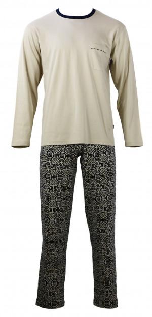 Pánské  pyžamo s dlouhým rukávem TASIM - Favab béžová