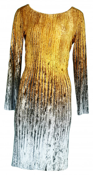 Dámské šaty Duna s barevným potiskem a Swaroski kamínky - Favab oranžová - šedá