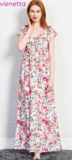 Dámské šaty Kate 5964 - Vienetta bílá s květinovým vzorem