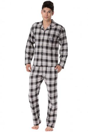 Pánské flanelové pyžamo Richard hnědé káro hnědá