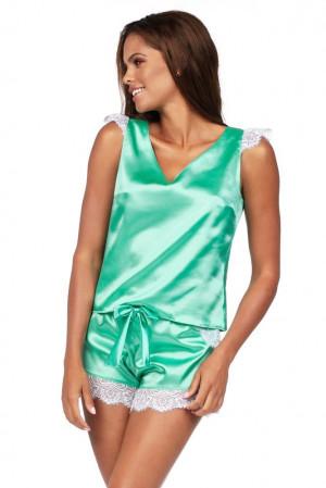 Luxusní saténové pyžamo Alla mint zelená