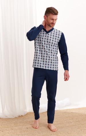 Pánské pyžamo Taro Roman 004 20/21 dł/r 2-3XL Z'20 tmavě modrá