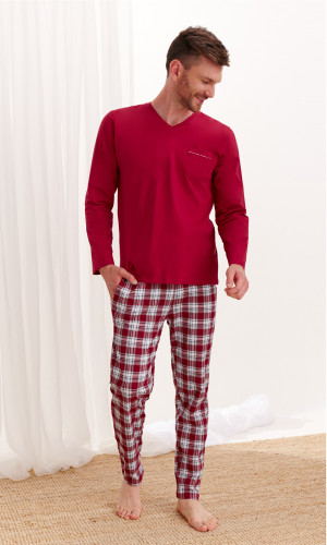 Pánské pyžamo Taro Tymon 2456 dł/r M-2XL Z'20 béžová žíhaná