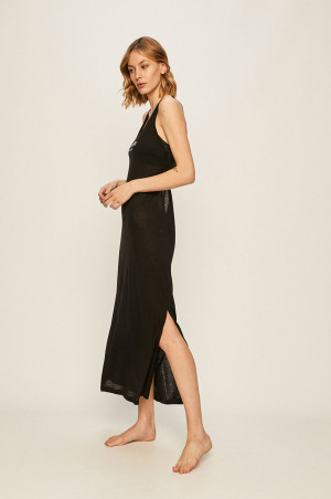 Plážové šaty KW0KW01080-BEH černá - Calvin Klein černá
