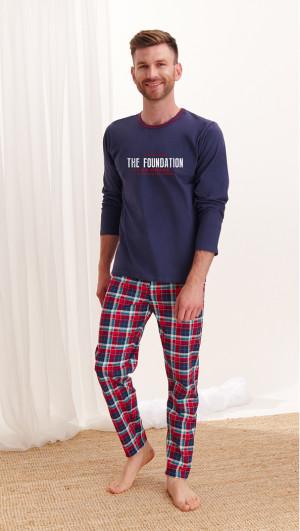 Pánské pyžamo Taro Leo 2264 dł/r M-2XL Z'20 tmavě modrá károvaná