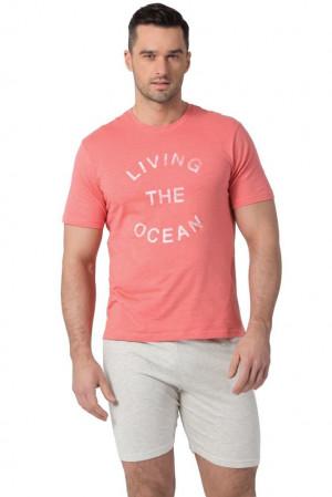 Pánské pyžamo SAM-PY-105 - Rossli korálová - šedá