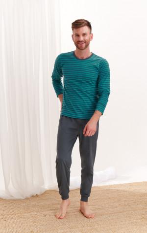 Dlouhé pánské pyžamo 372 MAX Z*20 zelené proužky