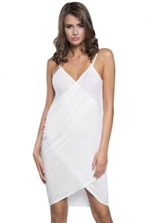 Plážové šaty na ramínka ecru bílá L/XL