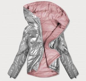 Oboustranná šedo-růžová lesklá dámská bunda (B9553) růžová S (36)