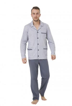 Pánské pyžamo AMBROŻY 196 šedá-žíhaná 2XL