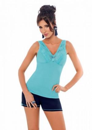 Donna Klaudia 1/2 tyrkysová Dámské pyžamo XL tyrkysovo-tmavě modrá
