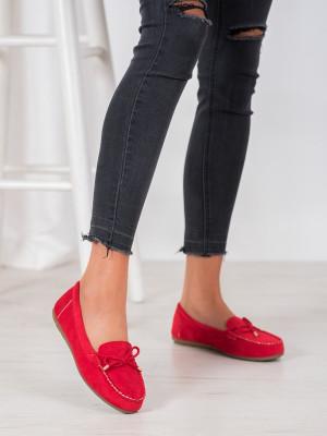 Pohodlné dámské  mokasíny červené bez podpatku