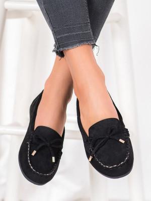 Zajímavé  mokasíny dámské černé bez podpatku