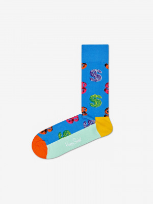 Andy Warhol Dollar Ponožky Happy Socks Modrá