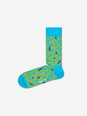 Keith Haring All Over Ponožky Happy Socks Modrá