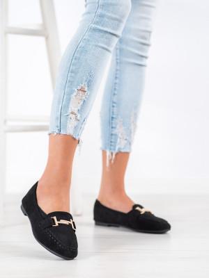 Pohodlné  mokasíny černé dámské bez podpatku