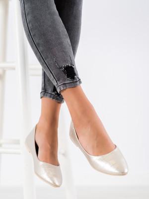 Trendy dámské  baleríny šedo-stříbrné bez podpatku